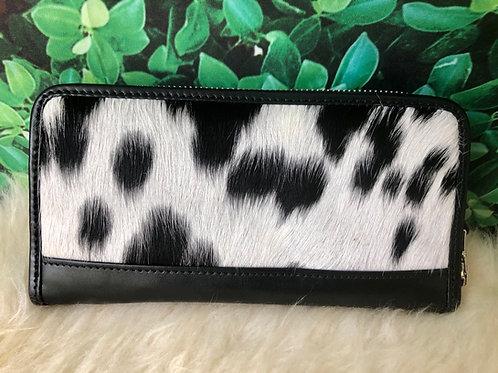 Cowhide Wallet Zip Wristlet Clutch Black Leather