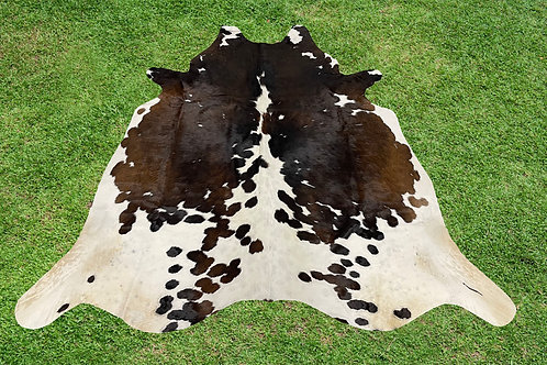 Cowhide Rugs Tricolor Black Brown Area Rug 5 x 4.75 ft