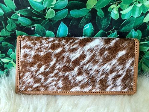 Cowhide Wallets for Women Slim Wallet Bifold Brown Tan Leather Clutch Purse