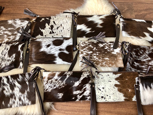 Dark Brown Cowhide Leather Wristlet Make up Bag Pouch