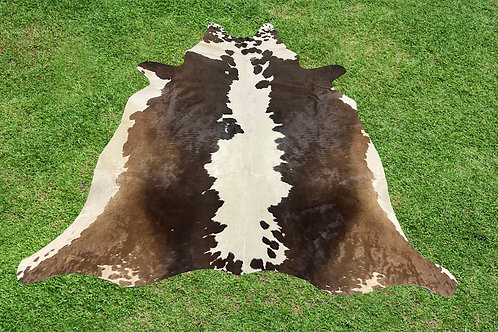 Small Cowhide Rugs Tricolor Brown Skin Area Rug 5 x 4.5 ft