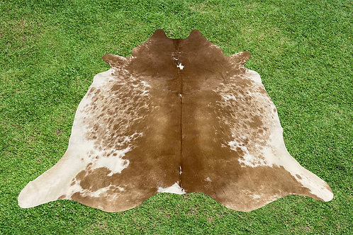 Cowhide Rugs Brown Leather Area Rug 5.5 x 5.25 ft Medium