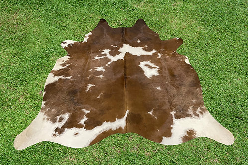 Small Cowhide Rugs Brown Leather Area Rug 4.5 x 4.5 ft