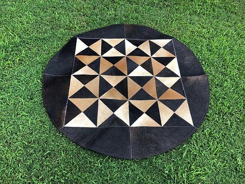 "Cowhide Patchwork Rug Round Brown Black Geometric 48"" 4ft Western A"