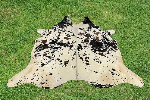 X Small Cowhide Rugs TricolorSkin Area Rug 4.5 x 4 ft