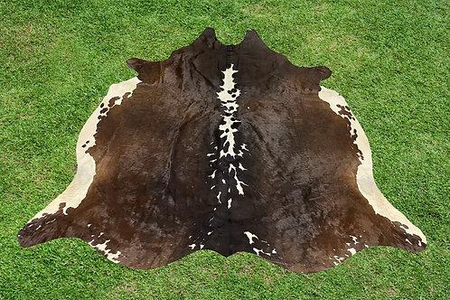 Cowhide Rugs Tricolor Brown Area Rug 5 x 5 ft