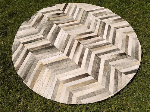 """Cowhide Patchwork Rug Round Gray Chevron Stripes Grey 48"""" 4ft Western Area Rugs"""