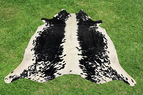 Large Cowhide Rug Area Black Leather 5 x 6 ft