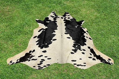 Medium Cowhide Skin Area Rugs Black Leather 5 x 5 ft