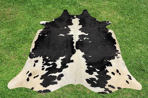 Small Cowhide Skin Area Rugs Black Leather 5 x 4.5 ft