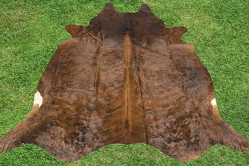 Cowhide Rugs Brown Brindle Leather Area Rug 5.5 x 5 ft