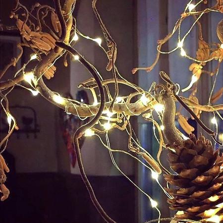 Decorazioni luminose ci introducono al Natale. Tutto prende forma.