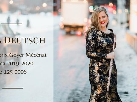 Lara Deutsch reçoit le Prix Goyer 2019-2020 de Mécénat Musica
