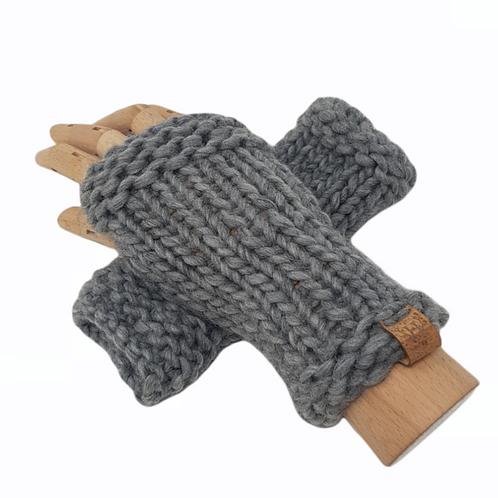 Women's Grey Merino Wrist Warmers