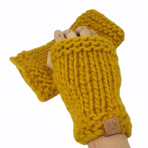 Women's Mustard Merino Wrist Warmers