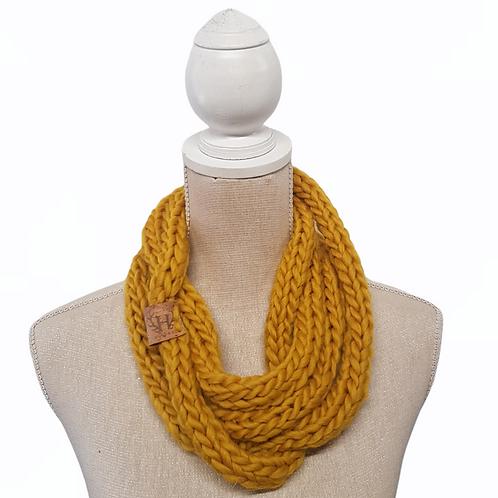 Mustard Merino Chunky Wool Infinity Scarf