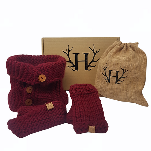 Red Merino Wool Women's Gift Set