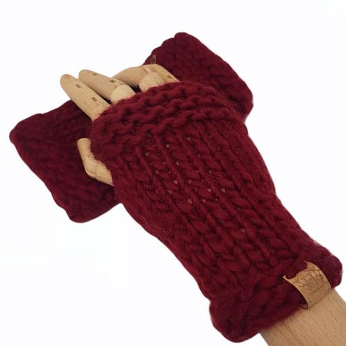 Women's Red Merino Wrist Warmers