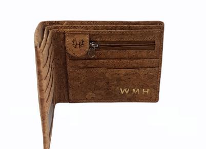 men's personalised cork leather wallet