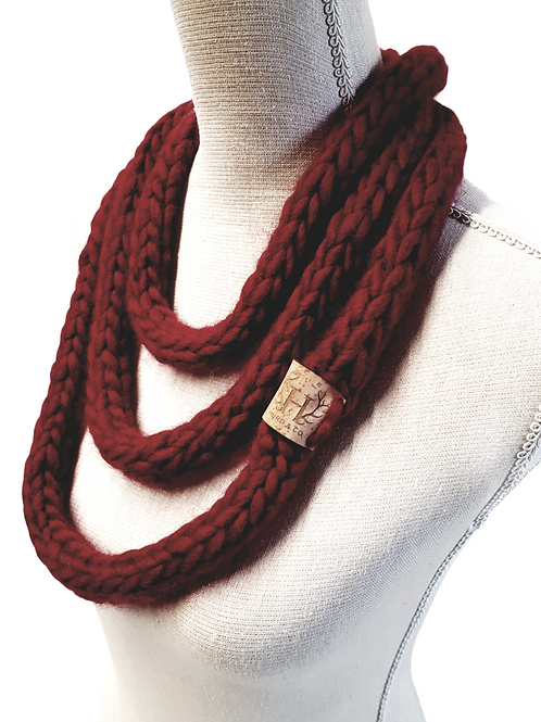 Women's Red Merino Wool Scarf