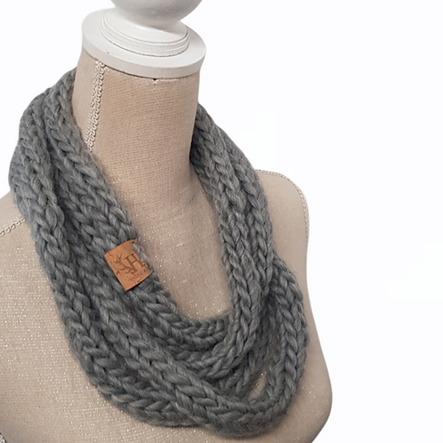 Grey Merino Wool Infinity Scarf