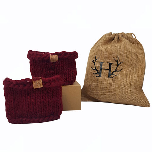 Women's Red Merino Wool Boot Toppers