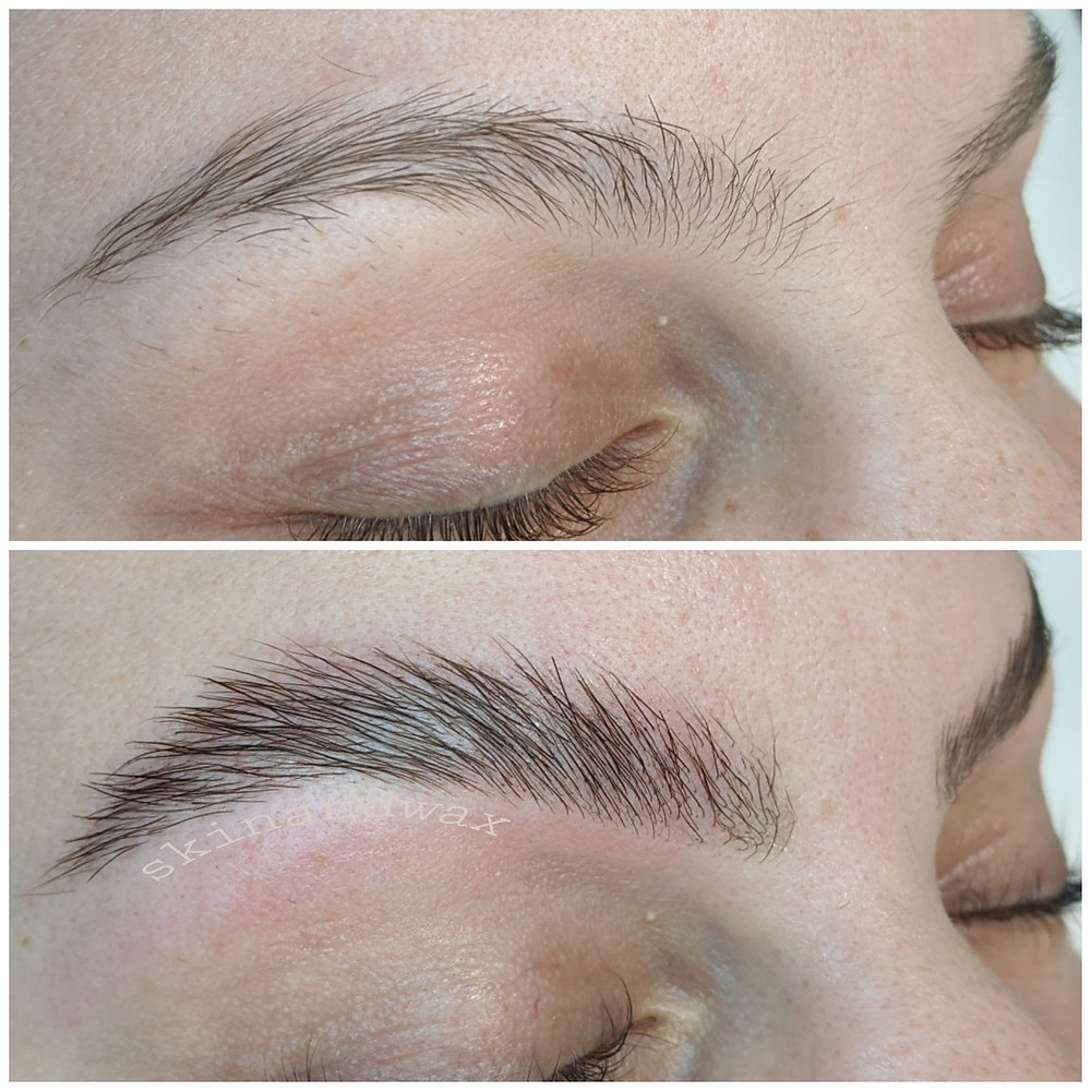 Before and After Brow Lamination with wax and tint