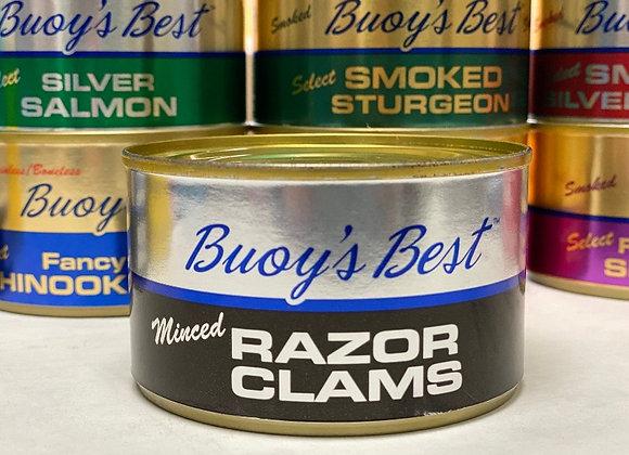 Minced Razor Clams   Half Case 12 Cans