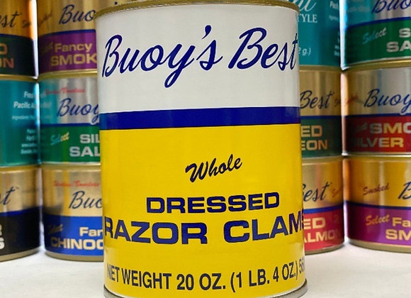 Whole Dressed Razor Clams  Half Case 12 cans