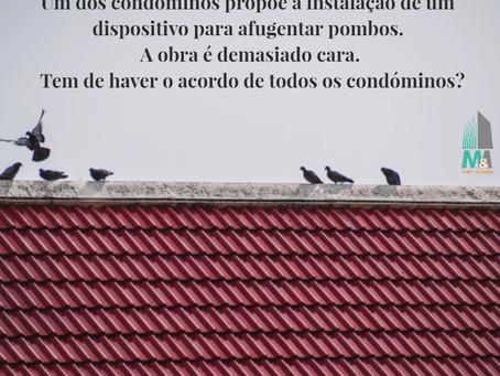Instalação de um dispositivo para afugentar pombos. Tem de haver o acordo de todos os condóminos?