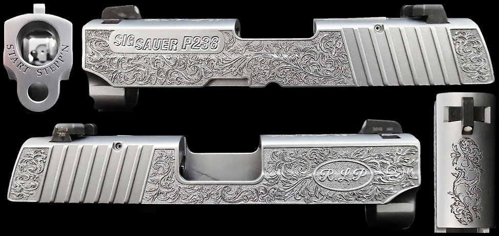"Sig Sauer P238 with 0.015"" deep engraving."