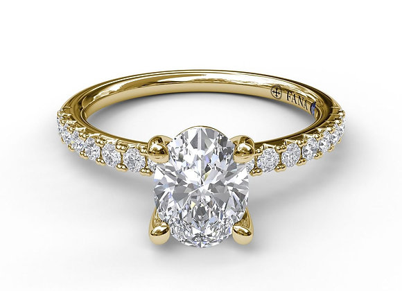 Classic Single Row Engagement ring with an Oval Center Diamond. Stock # S3002