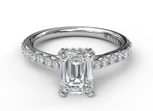 Emerald Cut Solitaire With Hidden Halo Stock # S3023 14Kt. white gold.