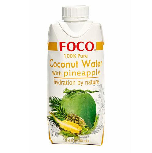 FOCO Кокосовая вода с соком ананаса без сахара (12 шт.)