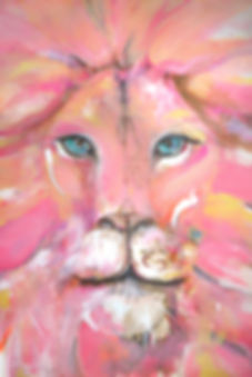 pink lion acrylic art