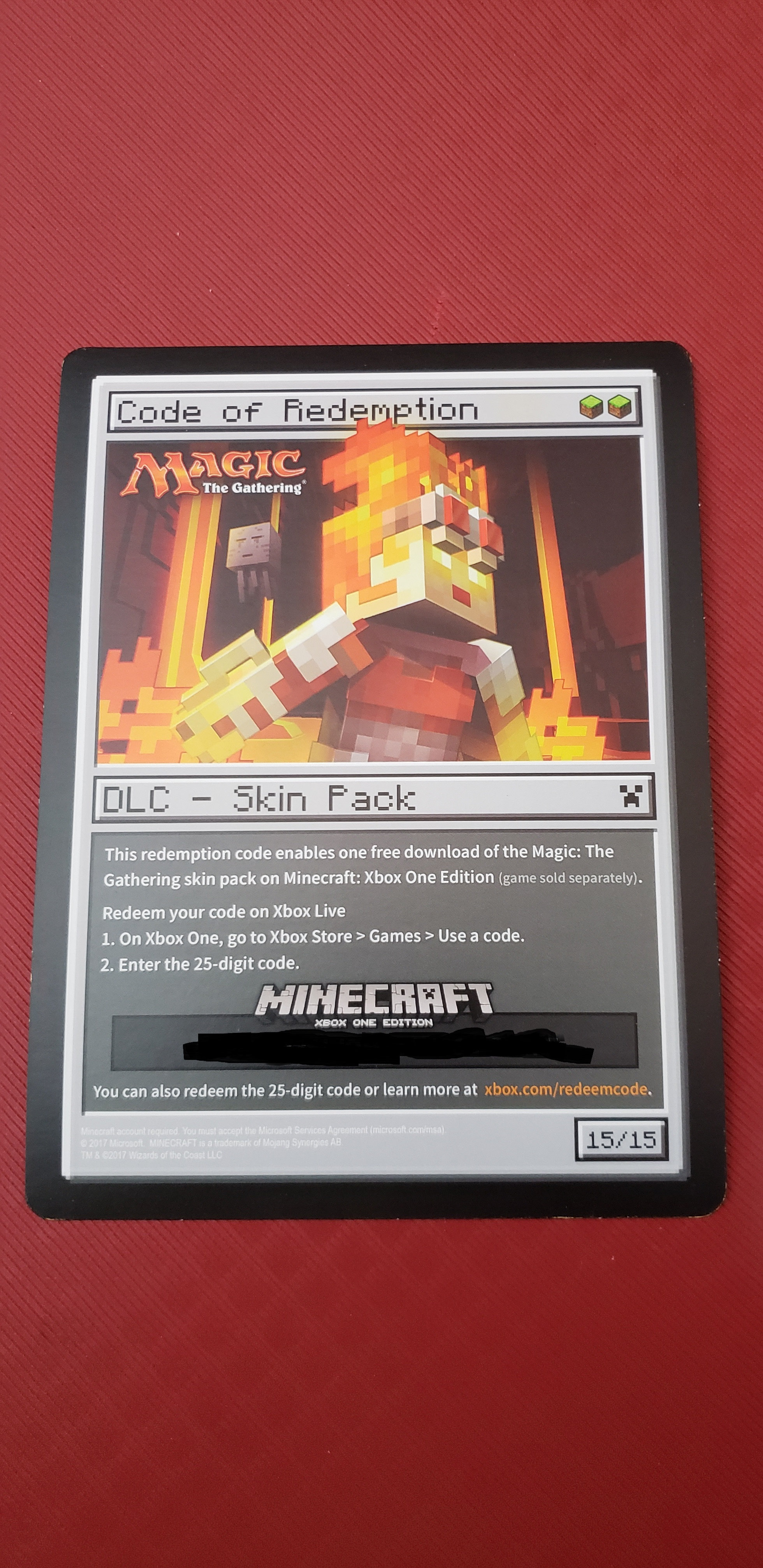 Magic: The Gathering Minecraft DLC Skin Pack Card (Xbox One)