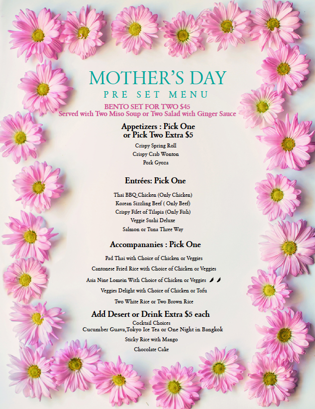 mother's day menu Asia Nine MD2020-05-05
