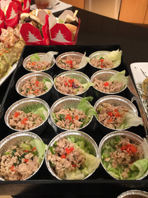 Larb chicken with fresh lettuce