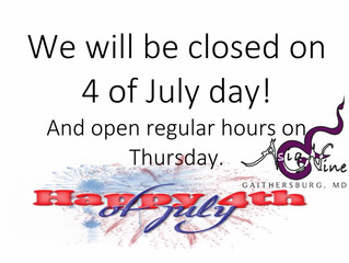 Asia Nine MD will be closed on July 4, 2018
