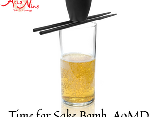 Time for our Sake Bomb.  Come enjoy in our patio.@asianinemd.  Follow us on facebook & instagram