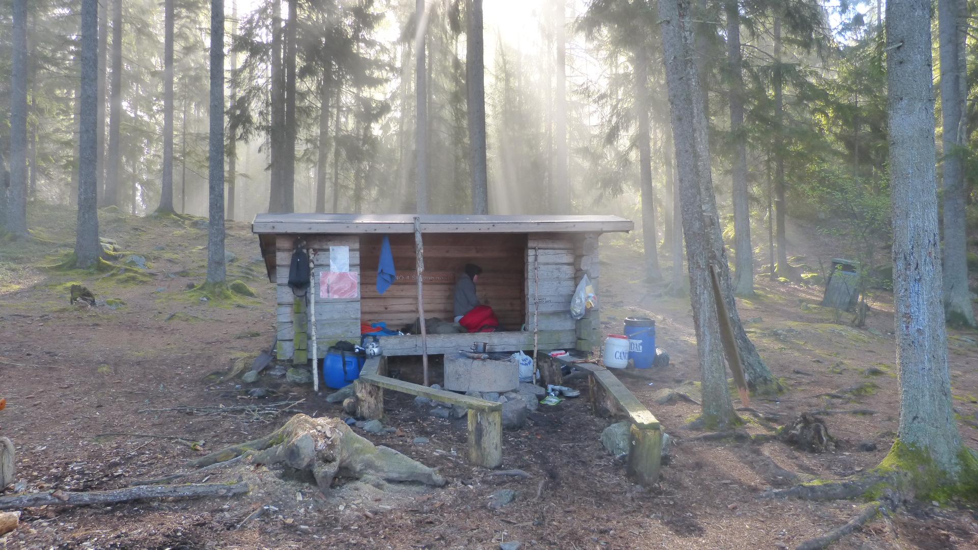Morgennebel umgibt das Shelter