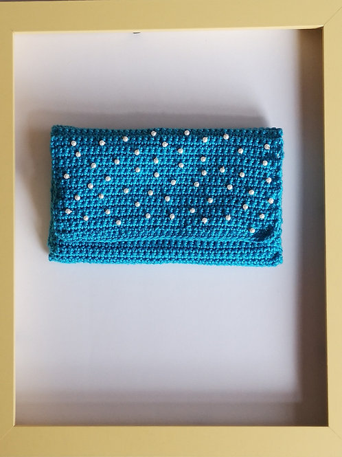 blue crocheted soft purse with white beads (second of its type)