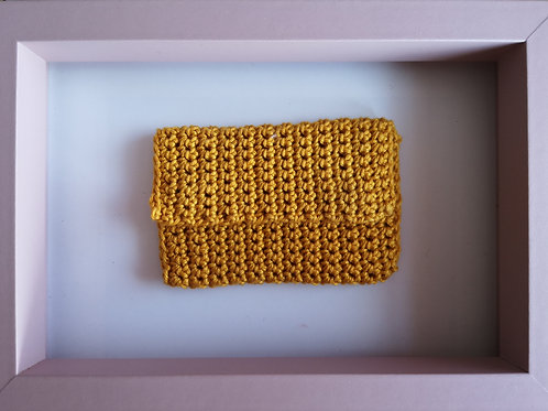 tiny mustard crocheted purse