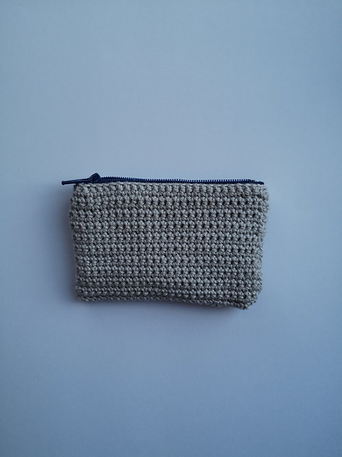silver crochet zip purse
