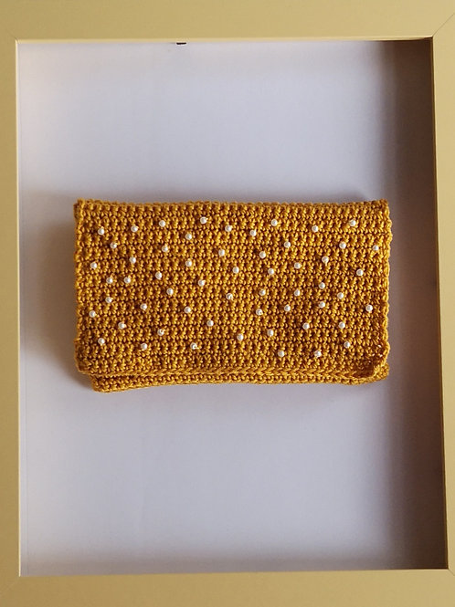 mustard crocheted soft purse with white beads (second of its type)