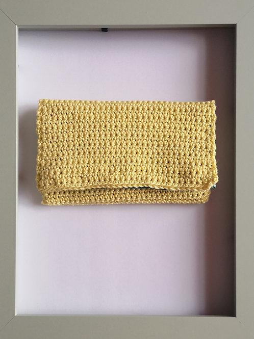 soft crocheted light yellow purse