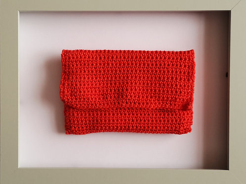 soft crocheted long red purse