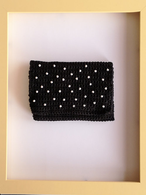 black crocheted soft purse with white beads