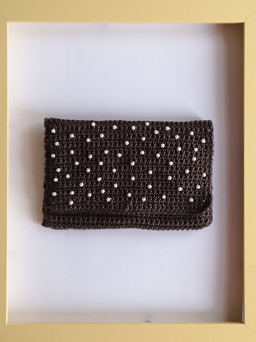 brown crocheted soft purse with white beads (second of its type))