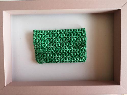 tiny green crocheted purse
